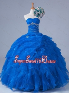 2015 Pretty Strapless Quinceanera Dresses with Beading and Ruffles