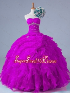 2015 Strapless Quinceanera Dresses with Beading and Ruffles