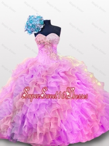 2015 Sweetheart Sequins and Ruffles Quinceanera Gowns in Organza