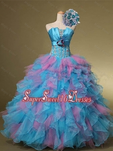 Multi Color Hand Made Flowers and Beaded Quinceanera Dresses for 2015 Summer