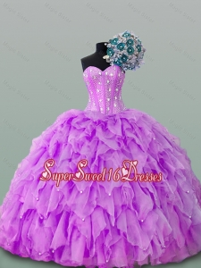 2015 Popular Sweetheart Beaded Quinceanera Gowns in Organza