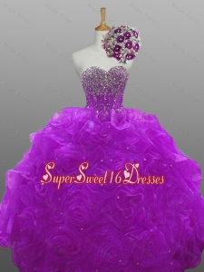 2015 Natural Quinceanera Dresses with Beading and Rolling Flowers