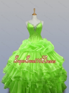 2015 Romantic Straps Quinceanera Dresses with Ruffled Layers