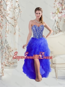 Cheap Beaded and Ruffles High Low Quinceanera Dama Dresses in Royal Blue