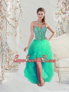 Comfortable High Low Beaded and Ruffles Apple Green Quinceanera Dama Dresses