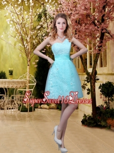 New Style A Line Laced Quinceanera Dama Dresses with Appliques in Aqua Blue
