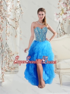 Sophisticated High Low Sweetheart and Beaded Teal Dama Dresses