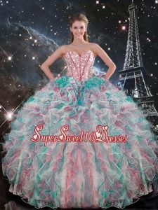 2015 Winter Perfect Sweetheart Beaded and Ruffles Quinceanera Gowns in Multi Color