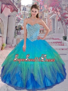 2016 Summer Cheap Multi Color Sweetheart Quinceanera Dresses with Beading