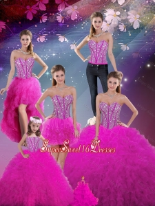 2016 Summer Detachable Sweetheart Fuchsia Quinceanera Dresses with Beading and Ruffles