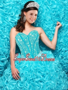 2016 Winter Perfect Aqua Blue Quinceanera Dresses with Beading and Ruffles