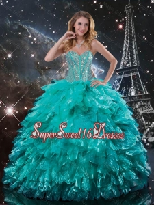Classical 2015 Fall Brush Train Turquoise Quinceanera Dresses with Beading and Ruffles