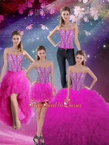 Detachable 2015 Summer Sweetheart Ball Gown Beaded and Ruffles Quinceanera Dresses in Fuchsia