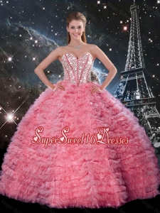 Luxurious 2016 Fall Ball Gown Beaded Rose Pink Quinceanera Dresses with Ruffles