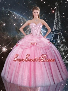 Luxurious 2016 Fall Rose Pink Sweet 16 Dresses with Beading and Bowknot