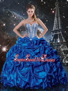 Luxurious 2016 Summer Royal Blue Quinceanera Dresses with Beading and Pick Ups