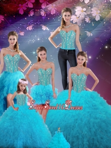Detachable Ball Gown New Quinceanera Dresses with Beading and Ruffles for 2016 Fall