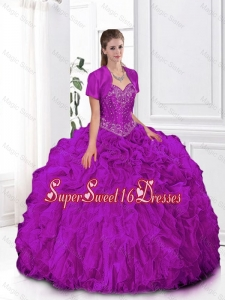 2015 Most Popular Fuchsia Sweetheart Quinceanera Gowns with Beading