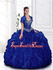 2016 Spring Elegant Beaded and Ruffles Quinceanera Gowns in Royal Blue