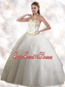 2016 Spring Feminine Halter Top White Quinceanera Gowns with Appliques