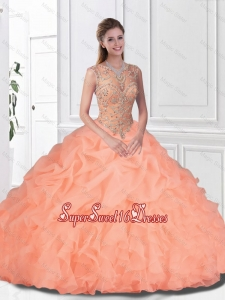 2016 Spring Perfect Beaded and Ruffles Watermelon Quinceanera Gowns with Bateau