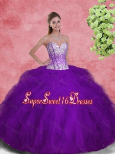 2016 Spring Popular Sweetheart Beaded and Ruffles Sweet 16 Dresses in Purple