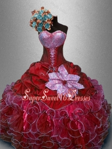 Fashionable Sweetheart Quinceanera Gowns in Wine Red