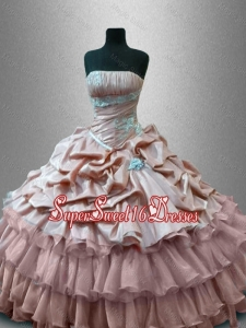 Luxurious Strapless Quinceanera Gowns with Ruffled Layers