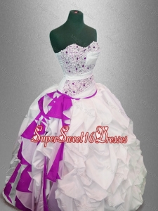 Latest Custom Made Sweet 16 Dresses Beaded Quinceanera Dresses in White and Fuchsia