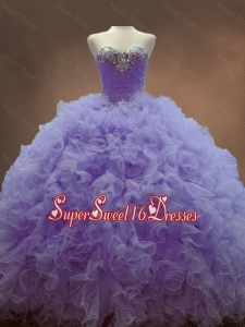 Classical Beaded Sweetheart Lavender Custom Made Sweet 16 Dresses with Ball Gowns