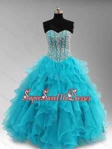 Elegant Beaded and Ruffles Custom Made Sweet 16 Dresses in Aqua Blue