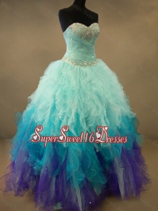 Fashionable Beaded and Ruffles Custom Made Sweet 16 Dresses in Multi Color