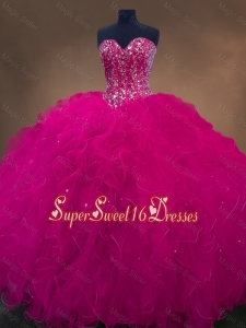 Luxurious Sweetheart Beaded Custom Made Sweet 16 Dresses in Hot Pink