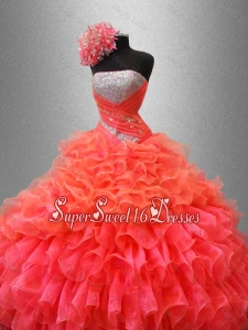 Organza Ruffles Fashionable Custom Made Sweet 16 Dresses with Sequins