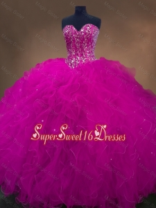 Popular Beaded Fuchsia Custom Made Sweet 16 Dresses with Sweetheart