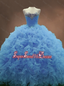 Popular Sweetheart Ruffles and Beaded Custom Made Sweet 16 Dresses in Blue
