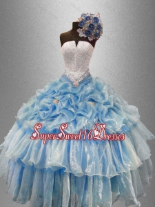 Pretty Strapless Beaded Custom Made Sweet 16 Dresses with Ruffled Layers