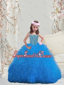 2015 Winter Perfect Spaghetti Teal Mini Quinceanera Dresses with Beading and Ruffles