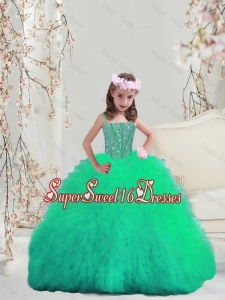 2016 Spring Sweet Spaghetti Apple Green Mini Quinceanera Dresses with Beading and Ruffles
