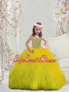 Suitable Yellow Spaghetti Mini Quinceanera Dresses with Beading and Ruffles