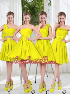 2016 Summer Simple One Shoulder Dama Dresses in Yellow Green
