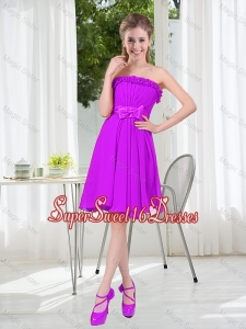 A Line Strapless Bowknot Short Dama Dresses