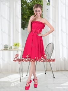 Coral Red Strapless Bowknot Dama Dresses for 2016 Summer