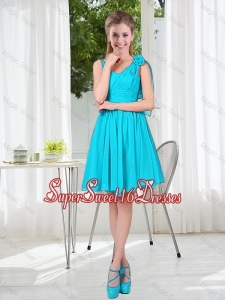 Short Straps Custom Made Dama Dress in Aqua Blue
