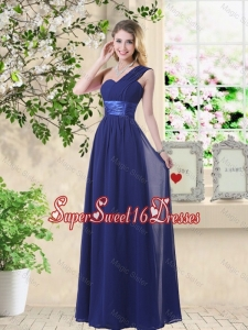 Cheap One Shoulder Floor Length Dama Dresses in Navy Blue
