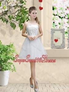 Classical Appliques and Beaded White Dama Dresses with Strapless