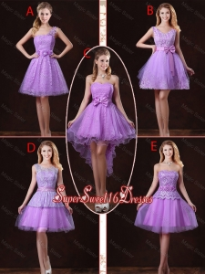 2016 Popular Laced Lilac Quinceanera Dama Dresses with A Line
