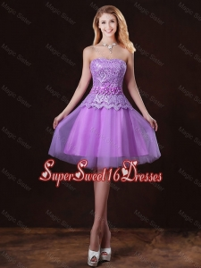 Classical Laced and Appliques Quinceanera Dama Dresses with Strapless