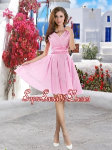 New Style 2016 Pink Quinceanera Dama Dresses with Belt