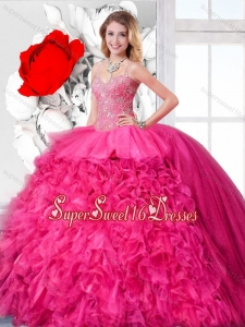 Beautiful Spring Ball Gown Straps Sweet 16 Dresses with Beading